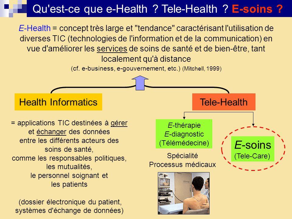 Qu'est-ce que e-Health ? Tele-Health ? E-soins ? Tele-HealthHealth Informatics E-Health = concept très large et