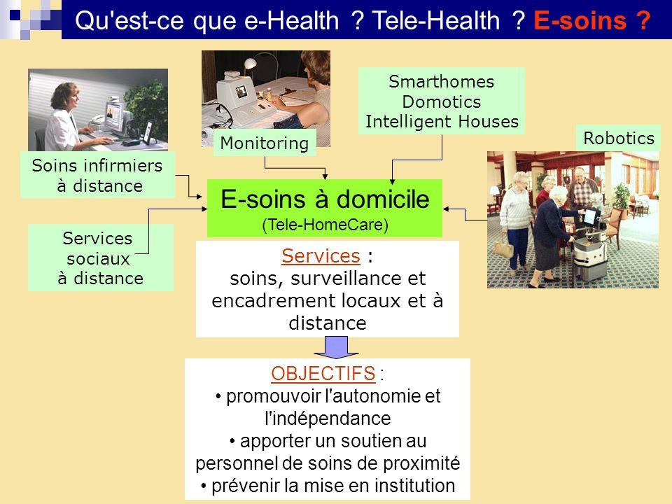 Qu'est-ce que e-Health ? Tele-Health ? E-soins ? E-soins à domicile (Tele-HomeCare) OBJECTIFS : promouvoir l'autonomie et l'indépendance apporter un s