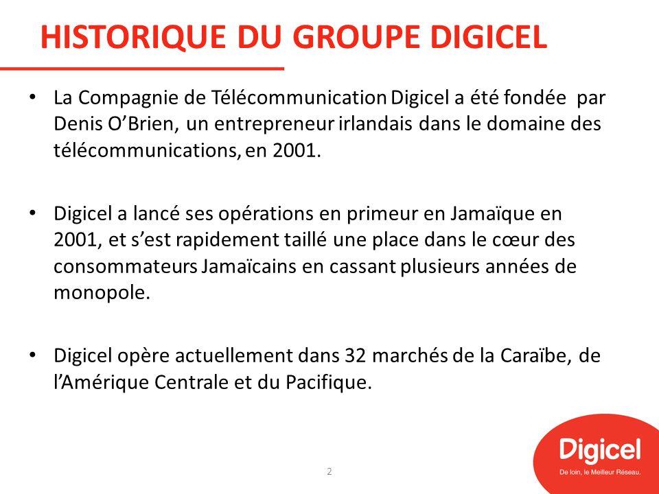 DIGICEL HAITI Lancée en mai 2006 en Haïti, Digicel a rapidement conquis des parts de marché au point de réaliser lexploit dacquérir 1,4 million de clients au cours de sa première année dexploitation.