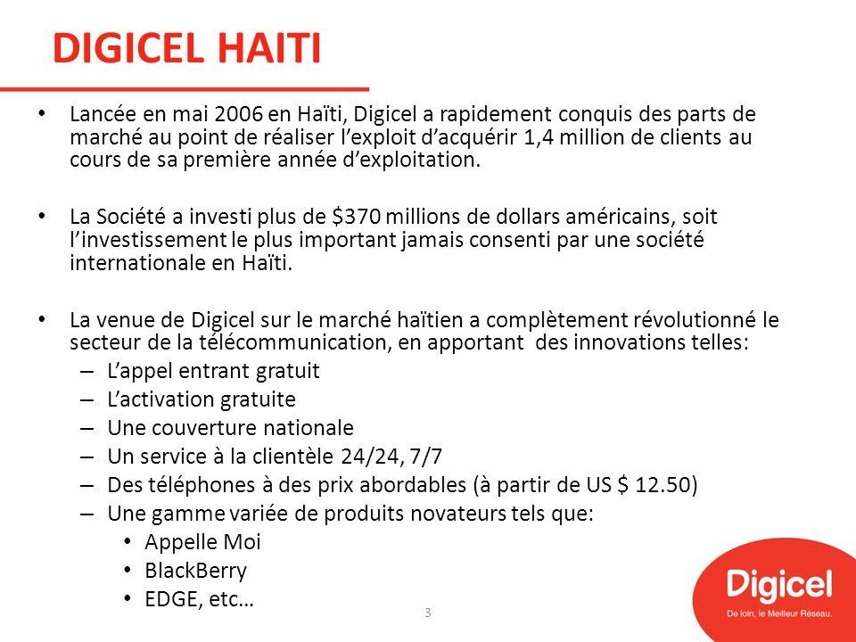 DIGICEL HAITI Lancée en mai 2006 en Haïti, Digicel a rapidement conquis des parts de marché au point de réaliser lexploit dacquérir 1,4 million de cli