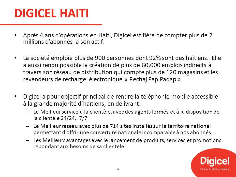 DIGICEL HAITI Après 4 ans dopérations en Haiti, Digicel est fière de compter plus de 2 millions dabonnés à son actif. La société emploie plus de 900 p