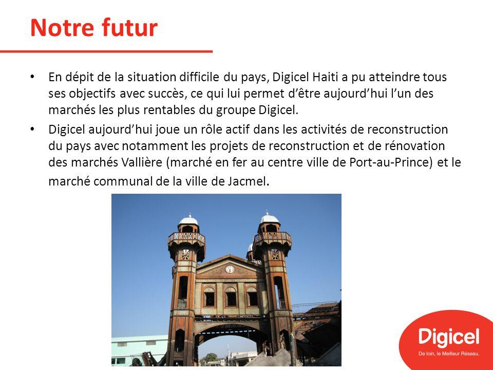 Notre futur En dépit de la situation difficile du pays, Digicel Haiti a pu atteindre tous ses objectifs avec succès, ce qui lui permet dêtre aujourdhu