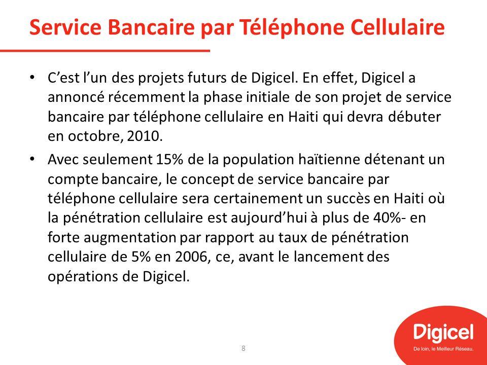 Service Bancaire par Téléphone Cellulaire Cest lun des projets futurs de Digicel. En effet, Digicel a annoncé récemment la phase initiale de son proje
