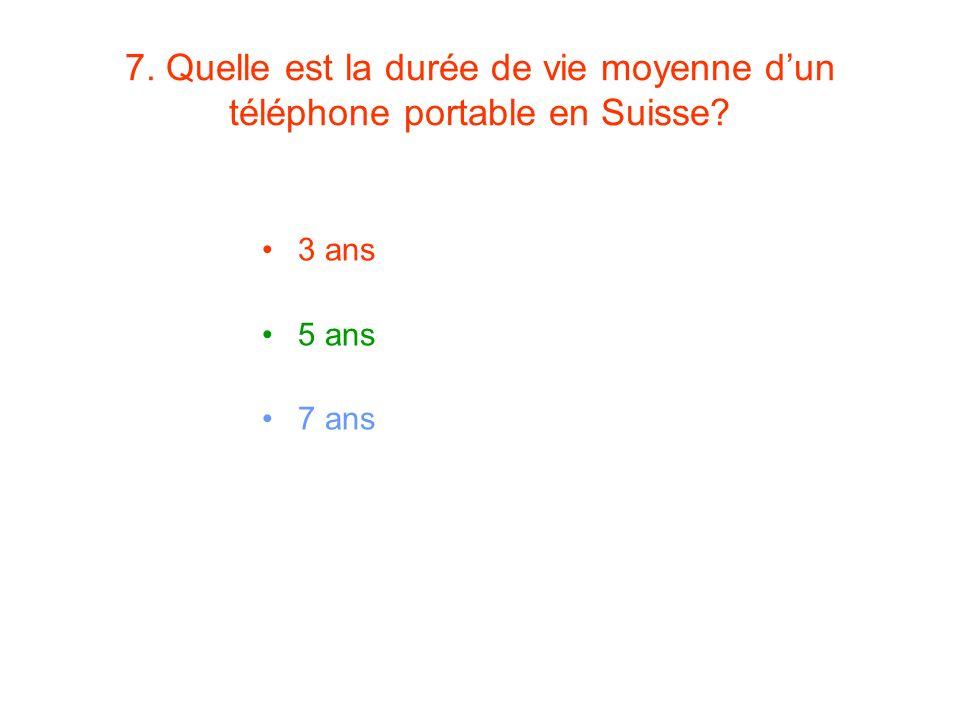 7. Quelle est la durée de vie moyenne dun téléphone portable en Suisse? 3 ans 5 ans 7 ans