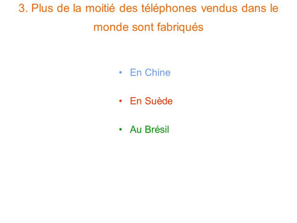 3. Plus de la moitié des téléphones vendus dans le monde sont fabriqués En Chine En Suède Au Brésil