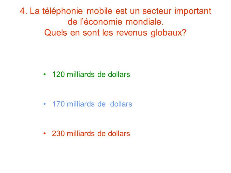 4. La téléphonie mobile est un secteur important de léconomie mondiale. Quels en sont les revenus globaux? 120 milliards de dollars 170 milliards de d