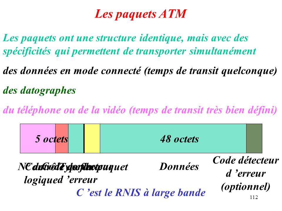 112 Les paquets ATM Les paquets ont une structure identique, mais avec des spécificités qui permettent de transporter simultanément des données en mod