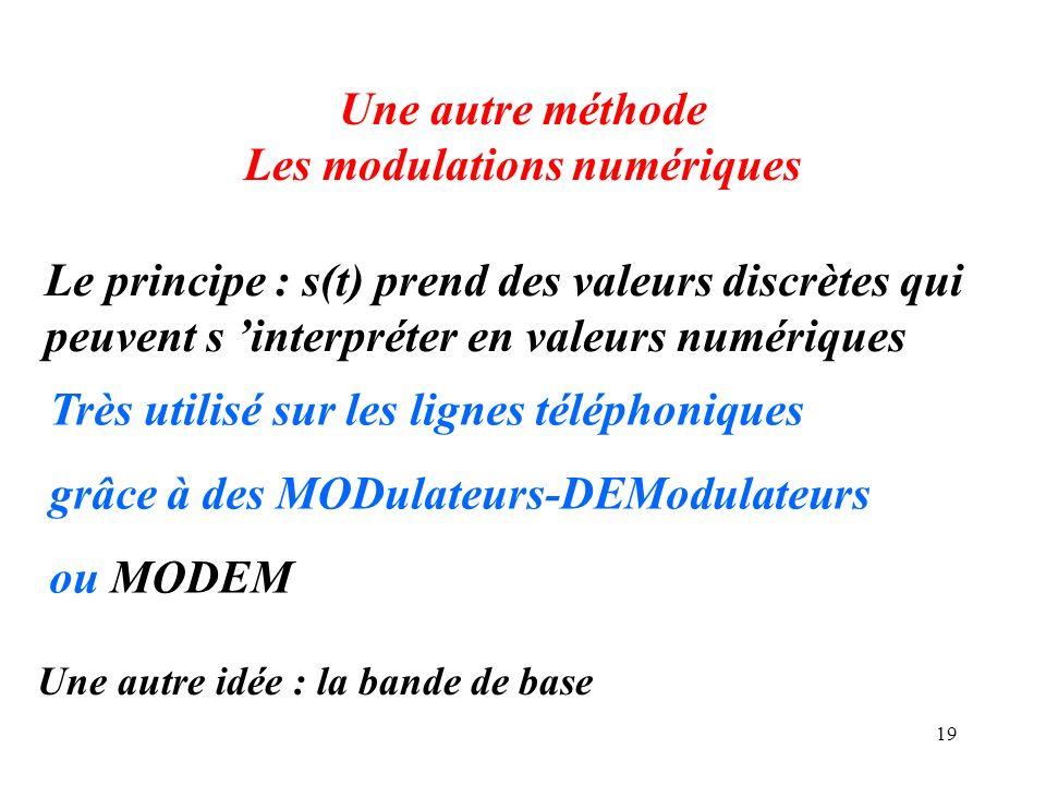 19 Une autre méthode Les modulations numériques Le principe : s(t) prend des valeurs discrètes qui peuvent s interpréter en valeurs numériques Très ut