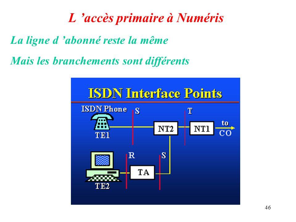 46 L accès primaire à Numéris La ligne d abonné reste la même Mais les branchements sont différents