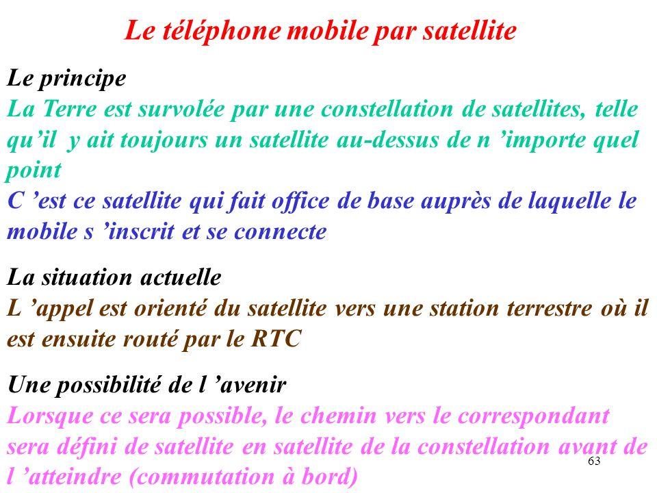63 Le téléphone mobile par satellite Le principe La Terre est survolée par une constellation de satellites, telle quil y ait toujours un satellite au-