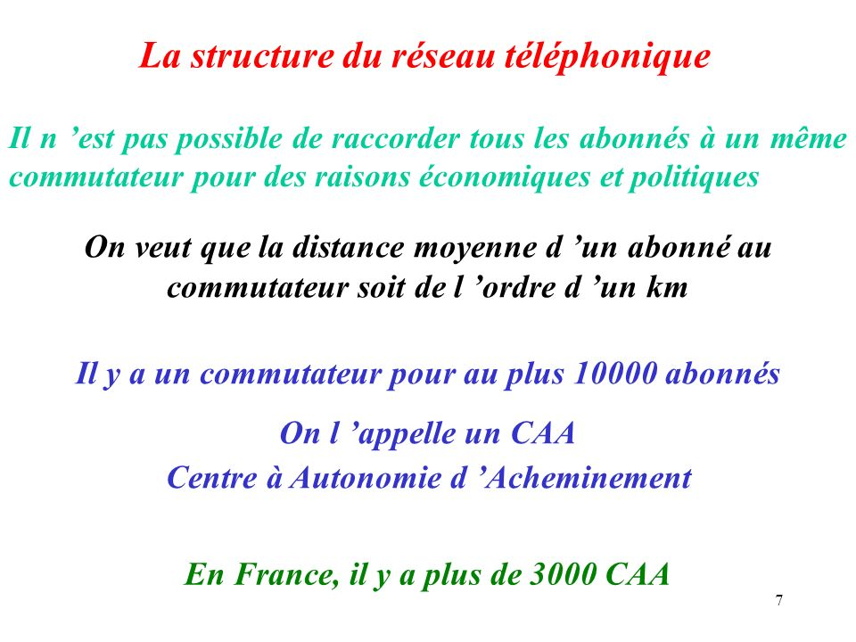 7 La structure du réseau téléphonique Il n est pas possible de raccorder tous les abonnés à un même commutateur pour des raisons économiques et politi
