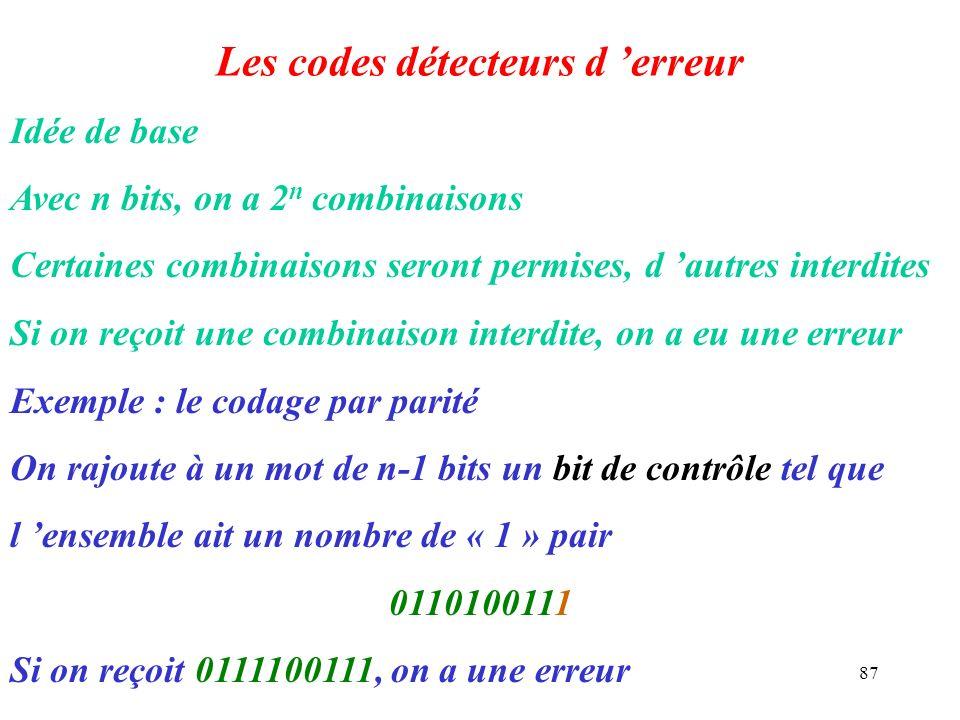 87 Les codes détecteurs d erreur Idée de base Avec n bits, on a 2n 2n combinaisons Certaines combinaisons seront permises, d autres interdites Si on r