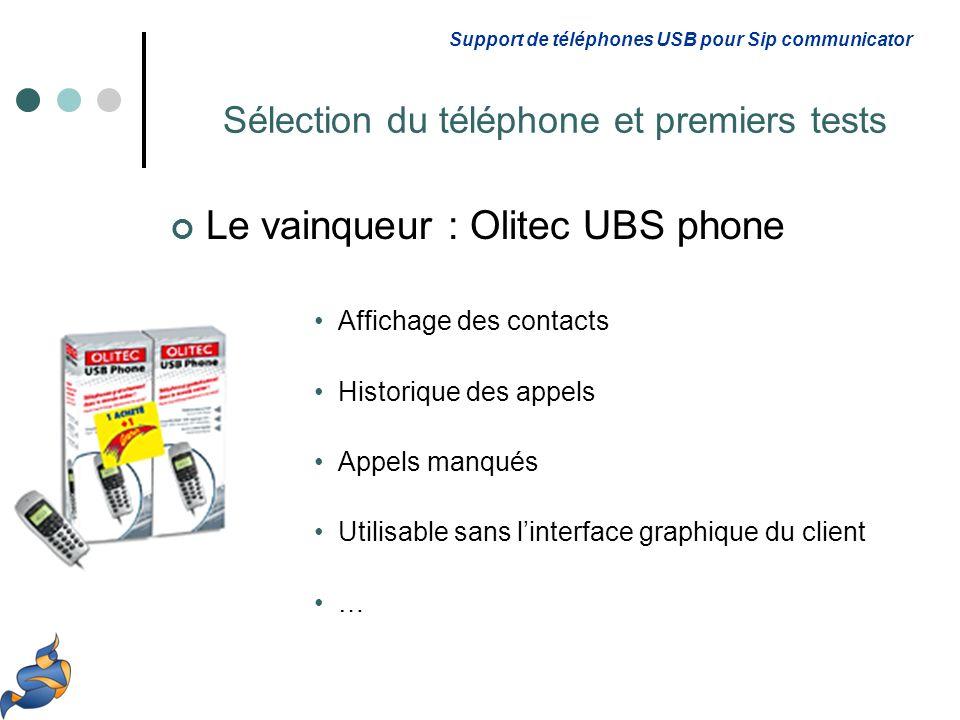 Le vainqueur : Olitec UBS phone Affichage des contacts Historique des appels Appels manqués Utilisable sans linterface graphique du client … Support de téléphones USB pour Sip communicator Sélection du téléphone et premiers tests