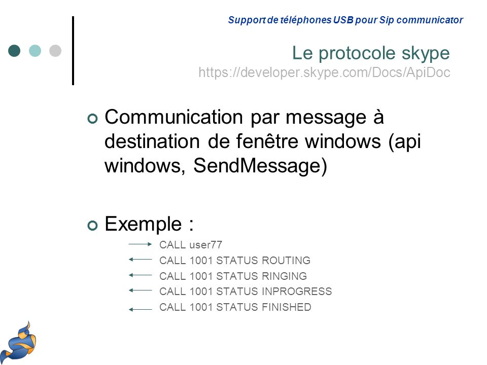 Communication par message à destination de fenêtre windows (api windows, SendMessage) Exemple : CALL user77 CALL 1001 STATUS ROUTING CALL 1001 STATUS