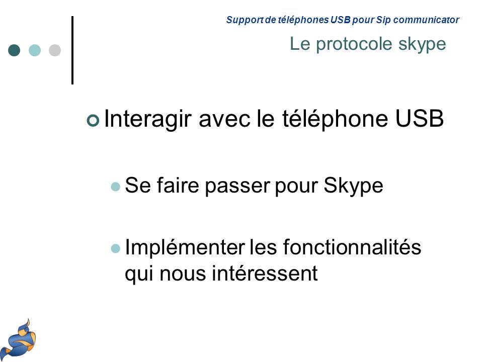 Interagir avec le téléphone USB Se faire passer pour Skype Implémenter les fonctionnalités qui nous intéressent Support de téléphones USB pour Sip communicator Le protocole skype
