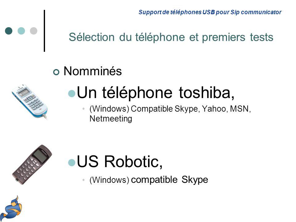 Nomminés Un téléphone toshiba, (Windows) Compatible Skype, Yahoo, MSN, Netmeeting US Robotic, (Windows) compatible Skype Support de téléphones USB pour Sip communicator Sélection du téléphone et premiers tests