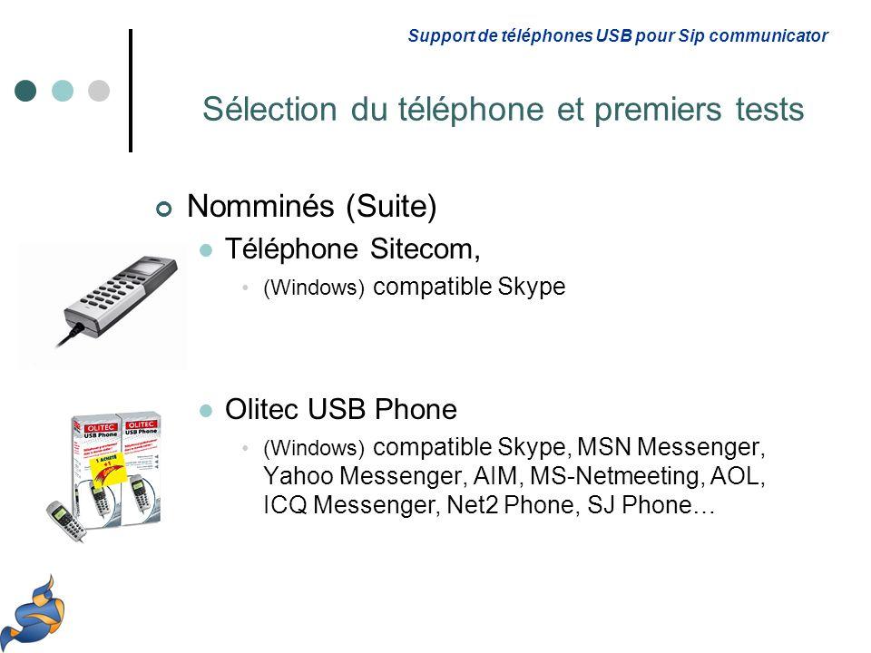 Nomminés (Suite) Téléphone Sitecom, (Windows) compatible Skype Olitec USB Phone (Windows) compatible Skype, MSN Messenger, Yahoo Messenger, AIM, MS-Ne