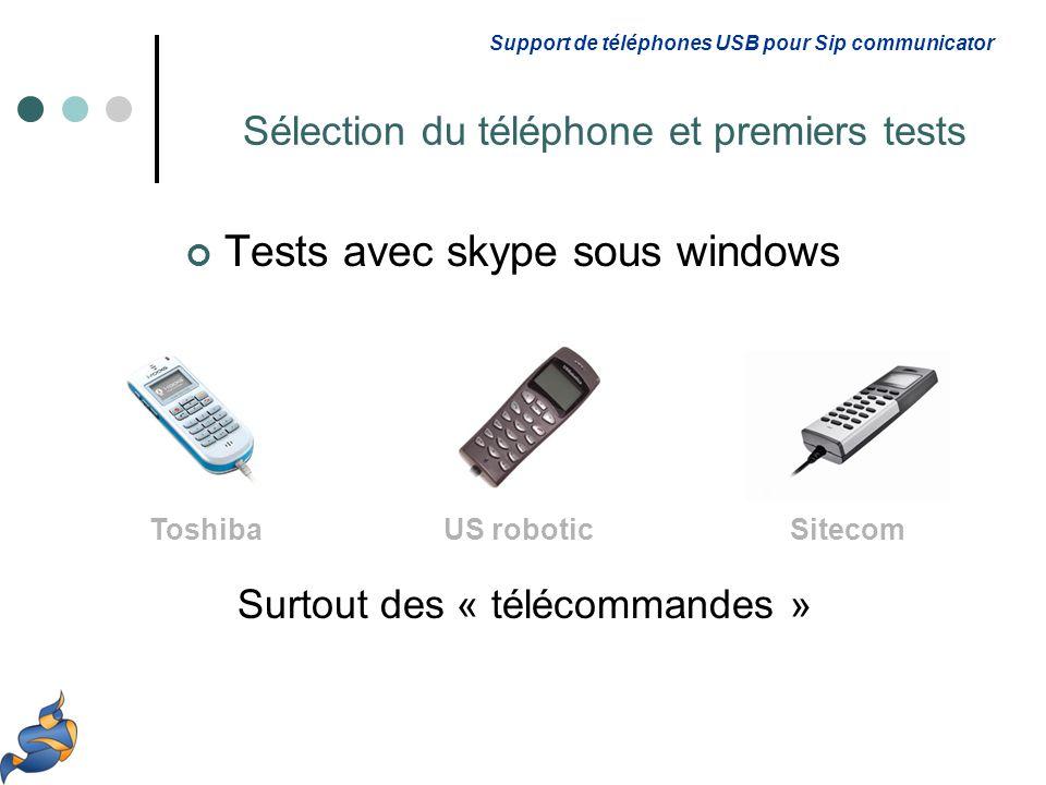 Tests avec skype sous windows Surtout des « télécommandes » Support de téléphones USB pour Sip communicator Sélection du téléphone et premiers tests ToshibaUS roboticSitecom