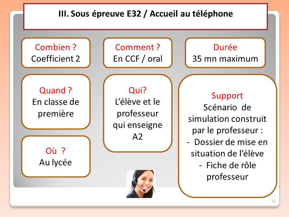 10 III. Sous épreuve E32 / Accueil au téléphone Combien ? Coefficient 2 Quand ? En classe de première Comment ? En CCF / oral Qui? Lélève et le profes