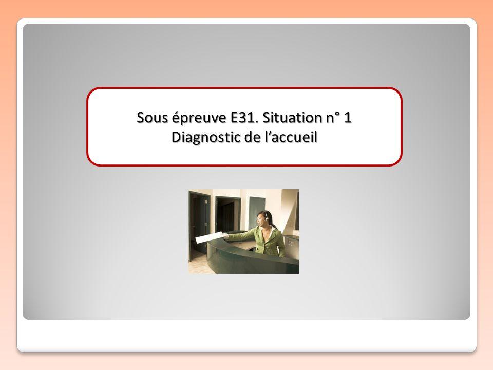 Sous épreuve E31. Situation n° 1 Diagnostic de laccueil