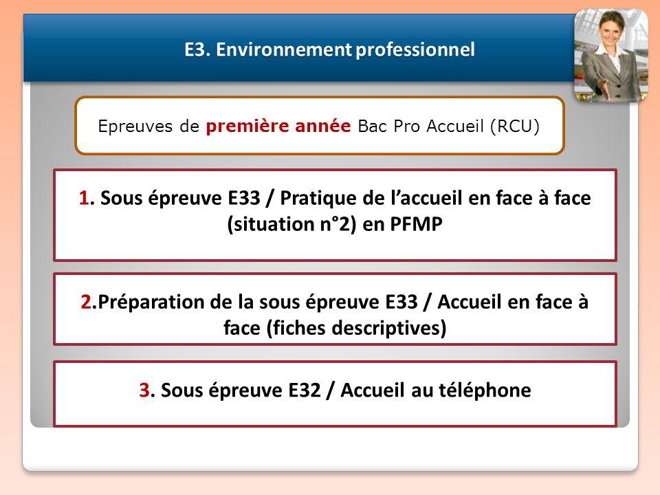 2.Préparation de la sous épreuve E33 / Accueil en face à face (fiches descriptives) E3. Environnement professionnel 3. Sous épreuve E32 / Accueil au t