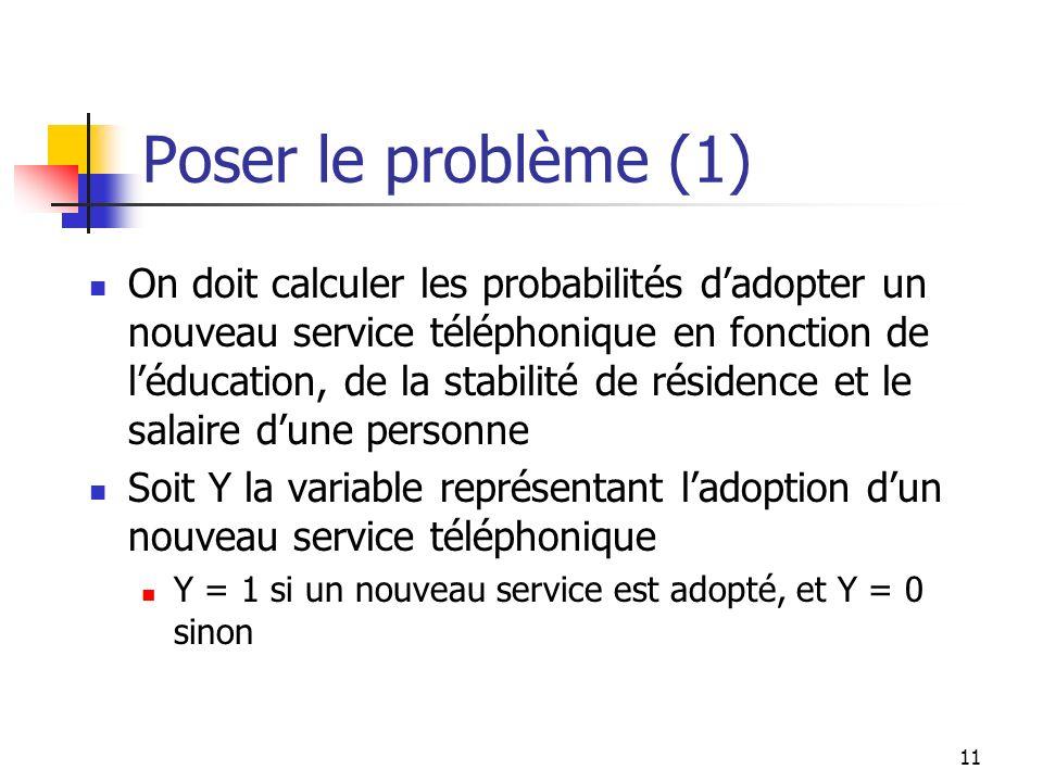 11 Poser le problème (1) On doit calculer les probabilités dadopter un nouveau service téléphonique en fonction de léducation, de la stabilité de rési
