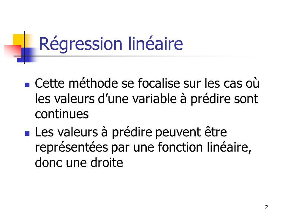 2 Régression linéaire Cette méthode se focalise sur les cas où les valeurs dune variable à prédire sont continues Les valeurs à prédire peuvent être r