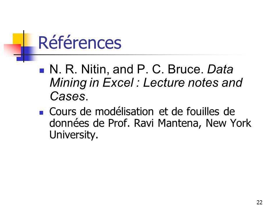 22 Références N. R. Nitin, and P. C. Bruce. Data Mining in Excel : Lecture notes and Cases. Cours de modélisation et de fouilles de données de Prof. R