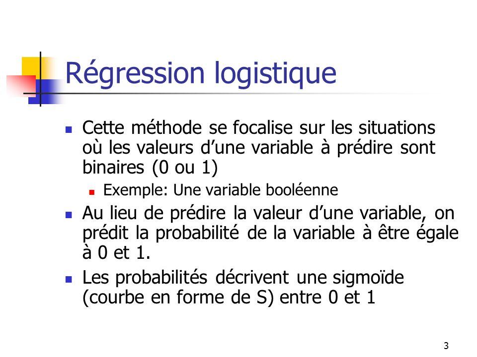 3 Régression logistique Cette méthode se focalise sur les situations où les valeurs dune variable à prédire sont binaires (0 ou 1) Exemple: Une variab