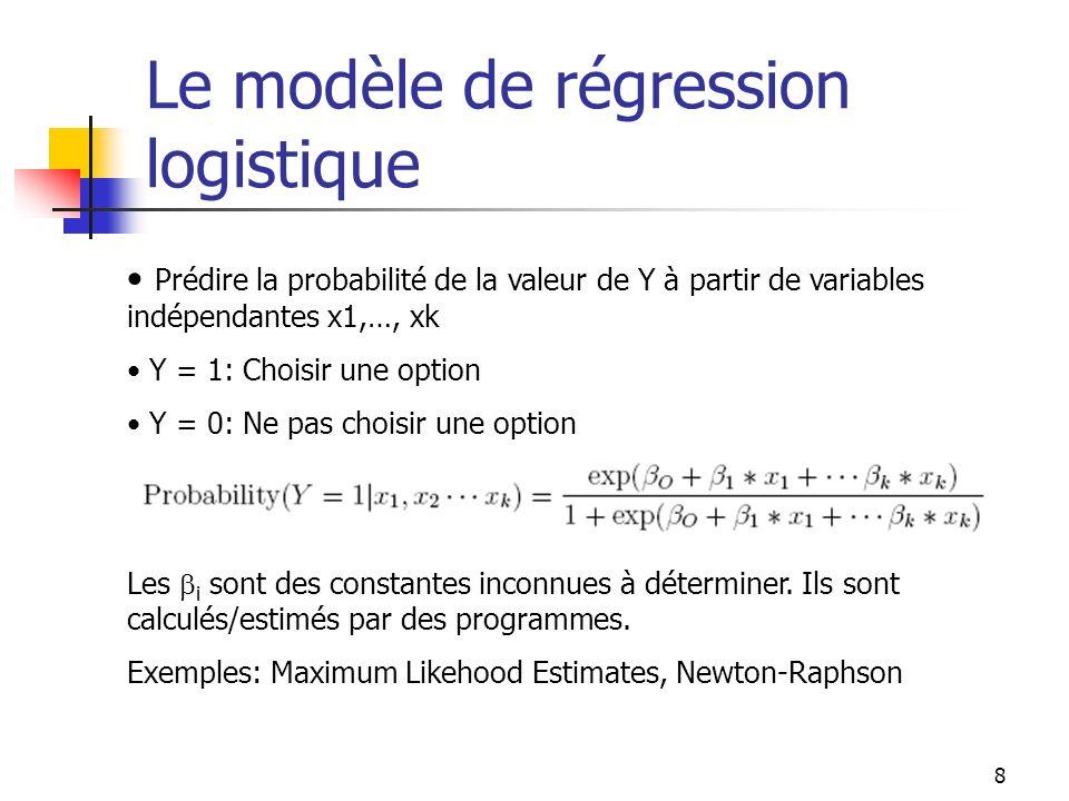 8 Le modèle de régression logistique Prédire la probabilité de la valeur de Y à partir de variables indépendantes x1,…, xk Y = 1: Choisir une option Y