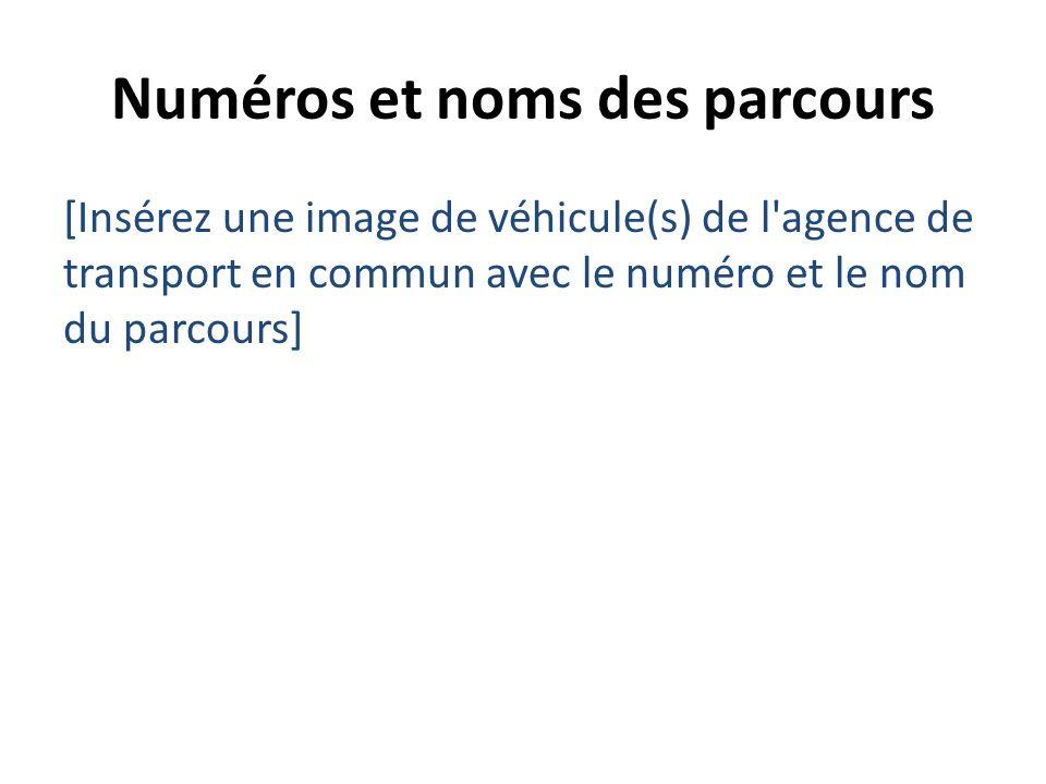 Numéros et noms des parcours [Insérez une image de véhicule(s) de l'agence de transport en commun avec le numéro et le nom du parcours]