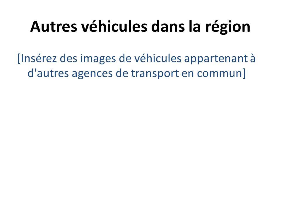 Autres véhicules dans la région [Insérez des images de véhicules appartenant à d'autres agences de transport en commun]