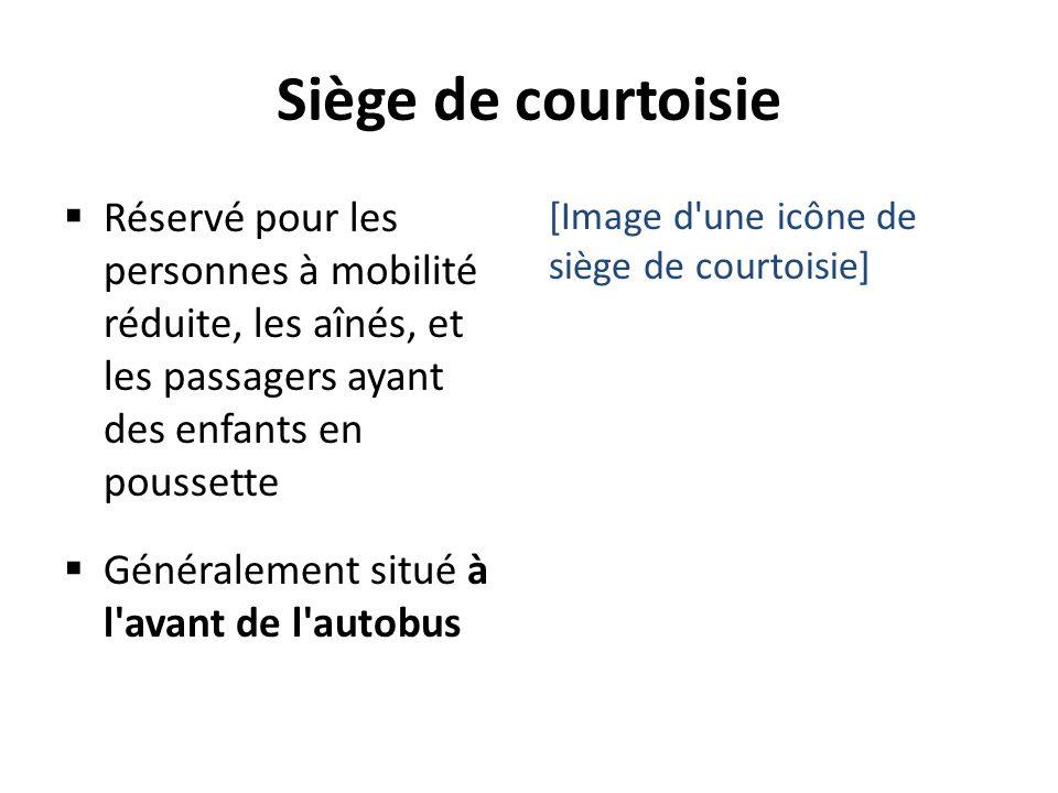 Siège de courtoisie Réservé pour les personnes à mobilité réduite, les aînés, et les passagers ayant des enfants en poussette Généralement situé à l'a