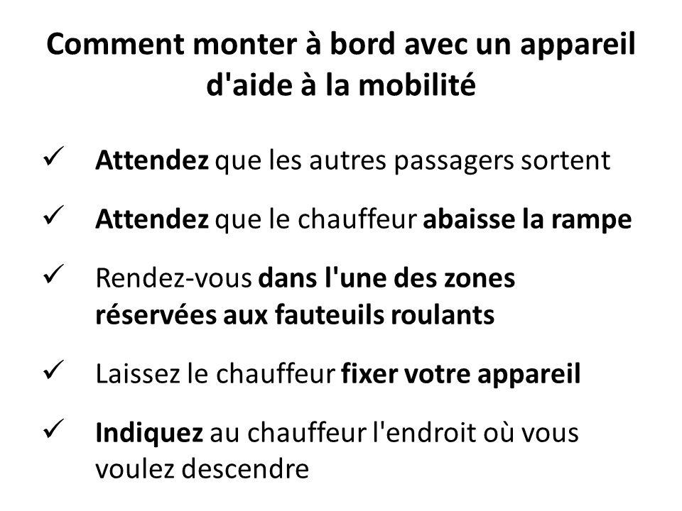 Comment monter à bord avec un appareil d'aide à la mobilité Attendez que les autres passagers sortent Attendez que le chauffeur abaisse la rampe Rende