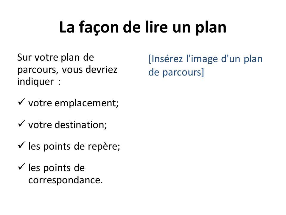 La façon de lire un plan Sur votre plan de parcours, vous devriez indiquer : votre emplacement; votre destination; les points de repère; les points de