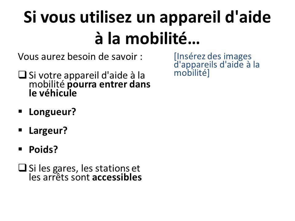 Si vous utilisez un appareil d'aide à la mobilité… Vous aurez besoin de savoir : Si votre appareil d'aide à la mobilité pourra entrer dans le véhicule
