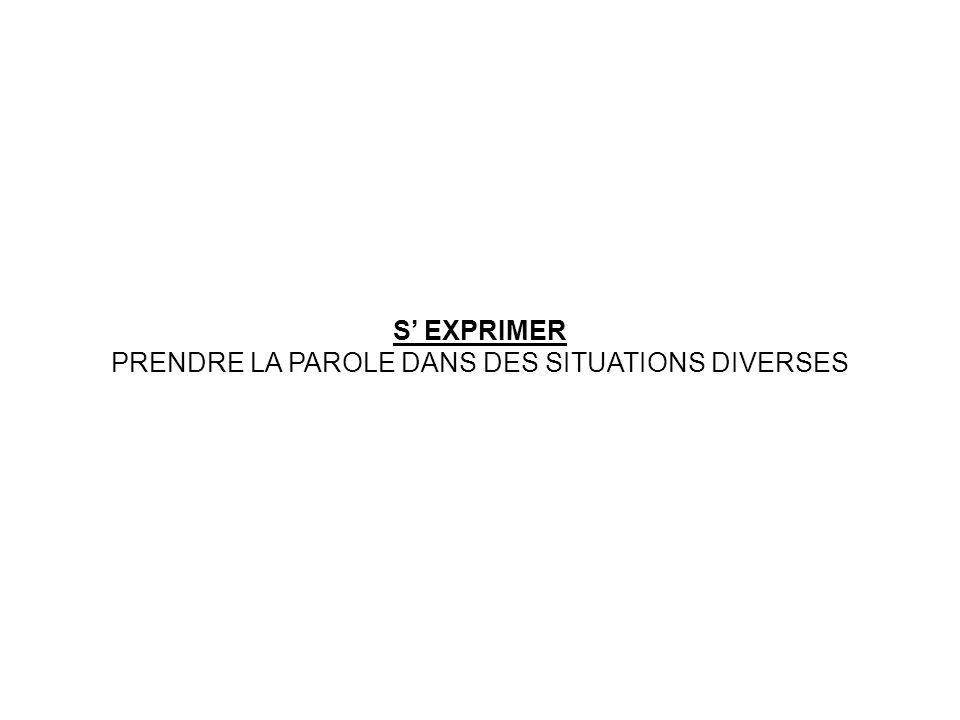 S EXPRIMER PRENDRE LA PAROLE DANS DES SITUATIONS DIVERSES