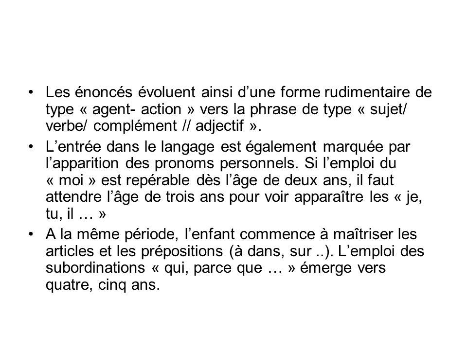 Les énoncés évoluent ainsi dune forme rudimentaire de type « agent- action » vers la phrase de type « sujet/ verbe/ complément // adjectif ».