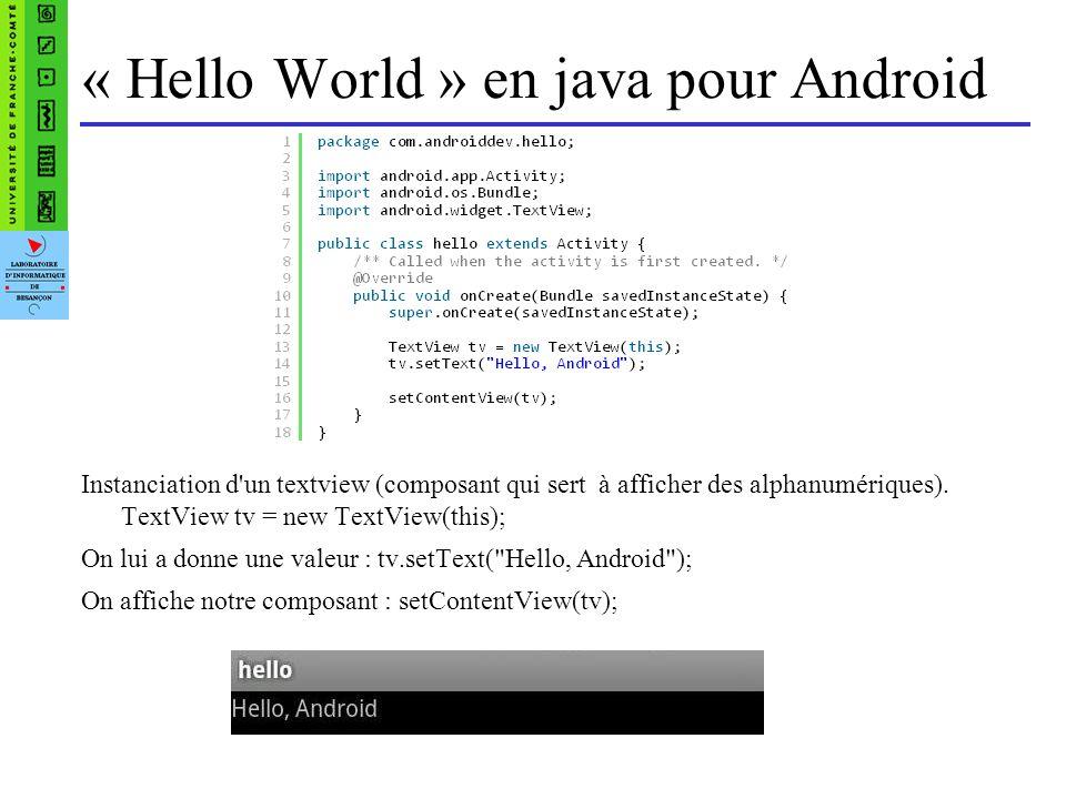 « Hello World » en java pour Android Instanciation d un textview (composant qui sert à afficher des alphanumériques).