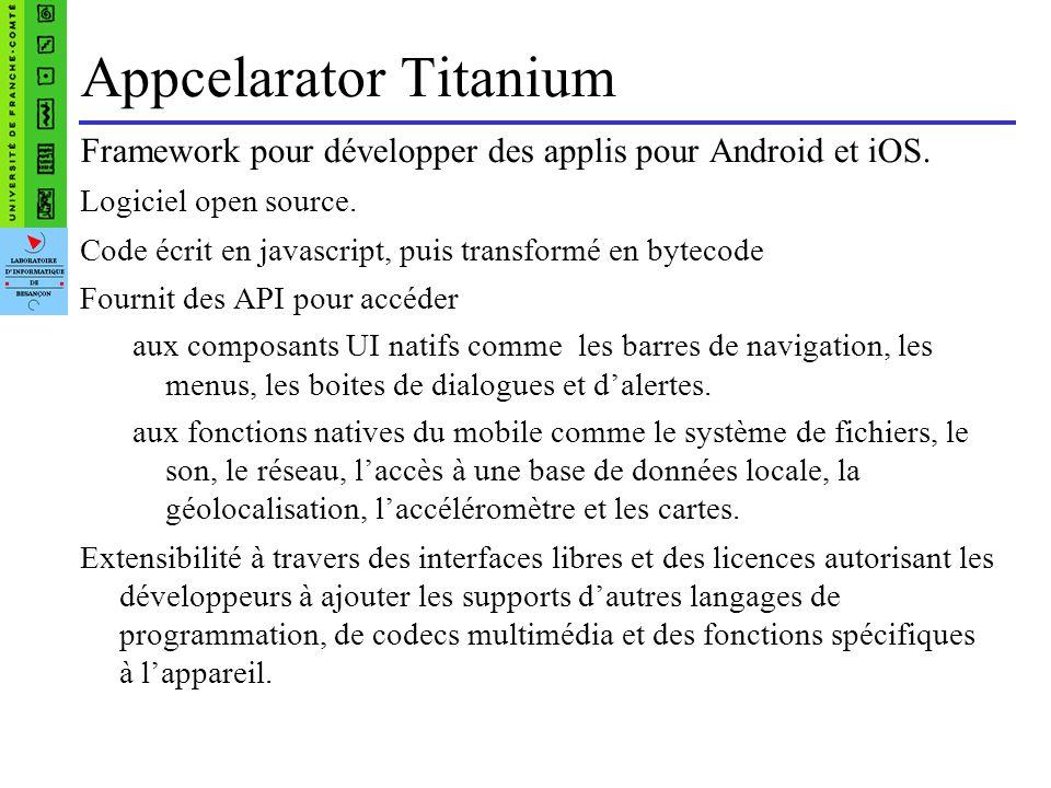 Appcelarator Titanium Framework pour développer des applis pour Android et iOS.