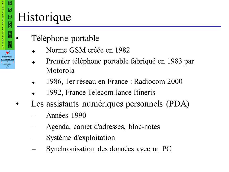 Historique Téléphone portable Norme GSM créée en 1982 Premier téléphone portable fabriqué en 1983 par Motorola 1986, 1er réseau en France : Radiocom 2000 1992, France Telecom lance Itineris Les assistants numériques personnels (PDA) –Années 1990 –Agenda, carnet d adresses, bloc-notes –Système d exploitation –Synchronisation des données avec un PC