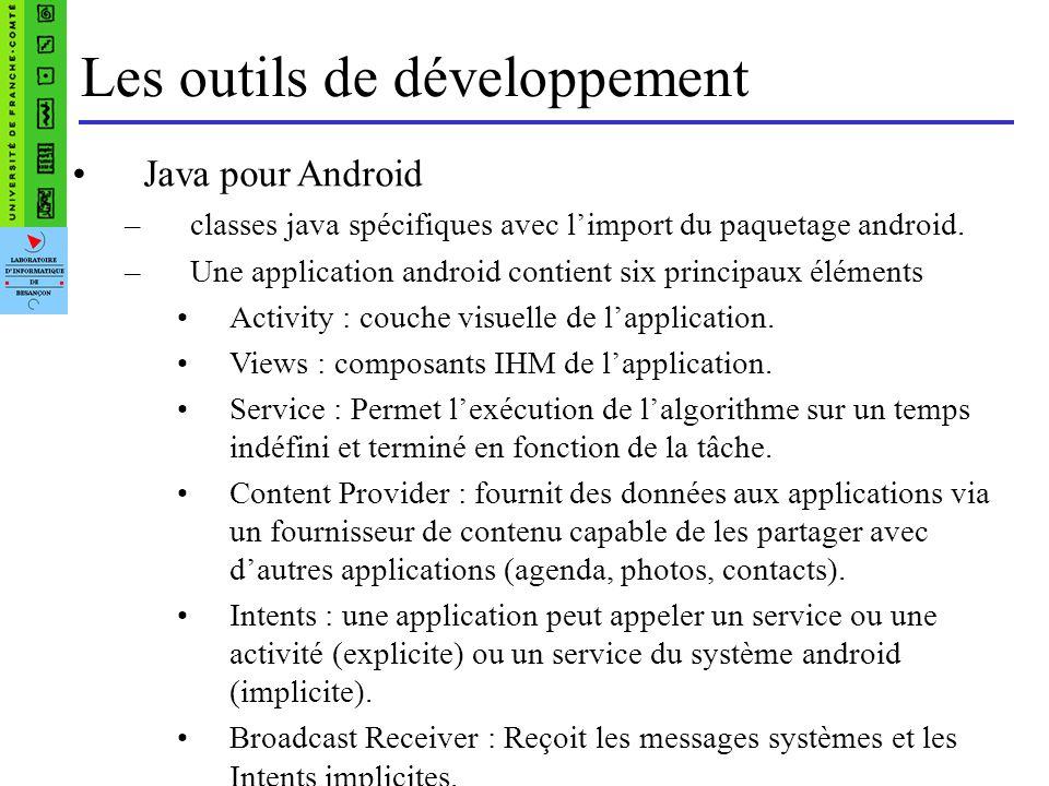 Les outils de développement Java pour Android –classes java spécifiques avec limport du paquetage android.
