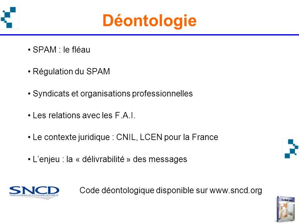 SPAM : le fléau Régulation du SPAM Syndicats et organisations professionnelles Les relations avec les F.A.I. Le contexte juridique : CNIL, LCEN pour l