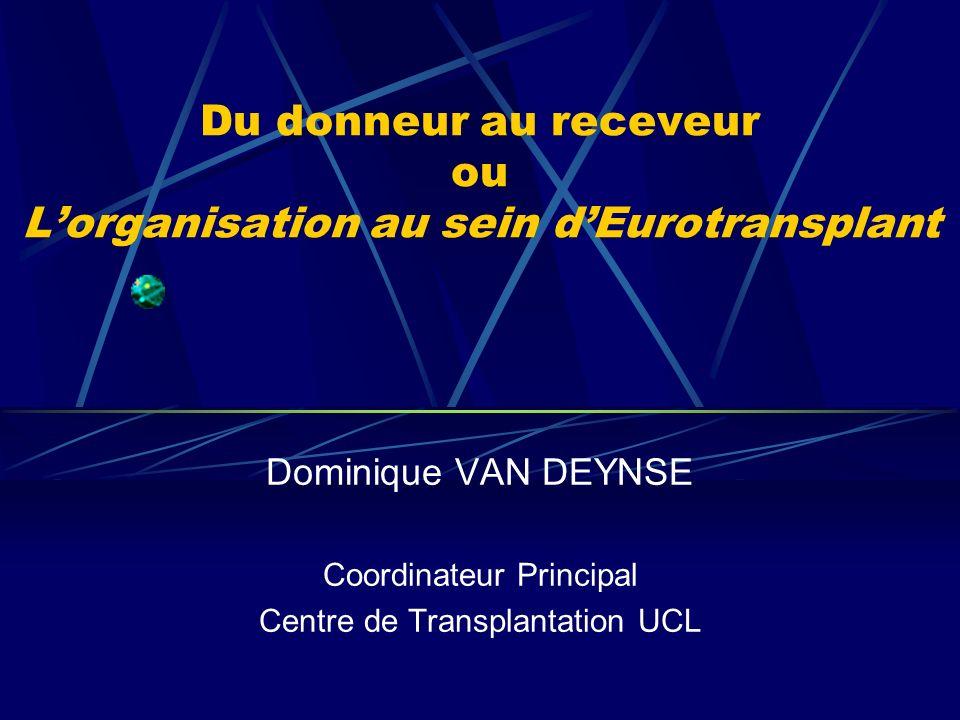 Préambule Chaque hôpital est un hôpital donneur 7 Centres de Transplantation en Belgique Alost : Centre Non-Universitaire (transplantation cardiaque) HUDE : Centre de Transplantation rénale pédiatrique ULB Mont-Godinne : Centre de Transplantation pulmonaire UCL Allocation des organes par Eurotransplant