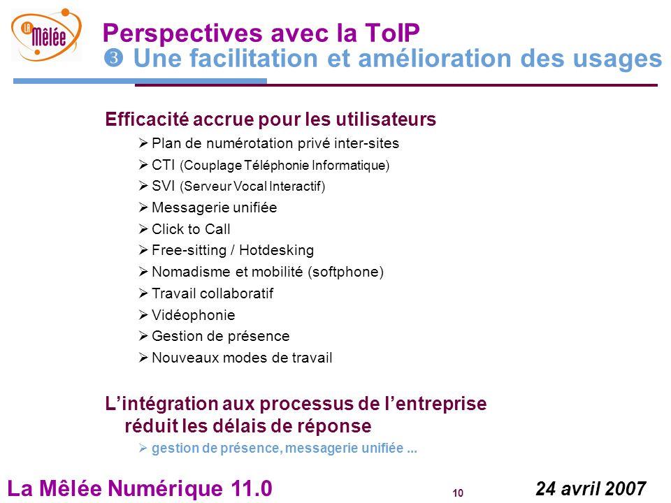 La Mêlée Numérique 11.0 10 24 avril 2007 Perspectives avec la ToIP Une facilitation et amélioration des usages Efficacité accrue pour les utilisateurs