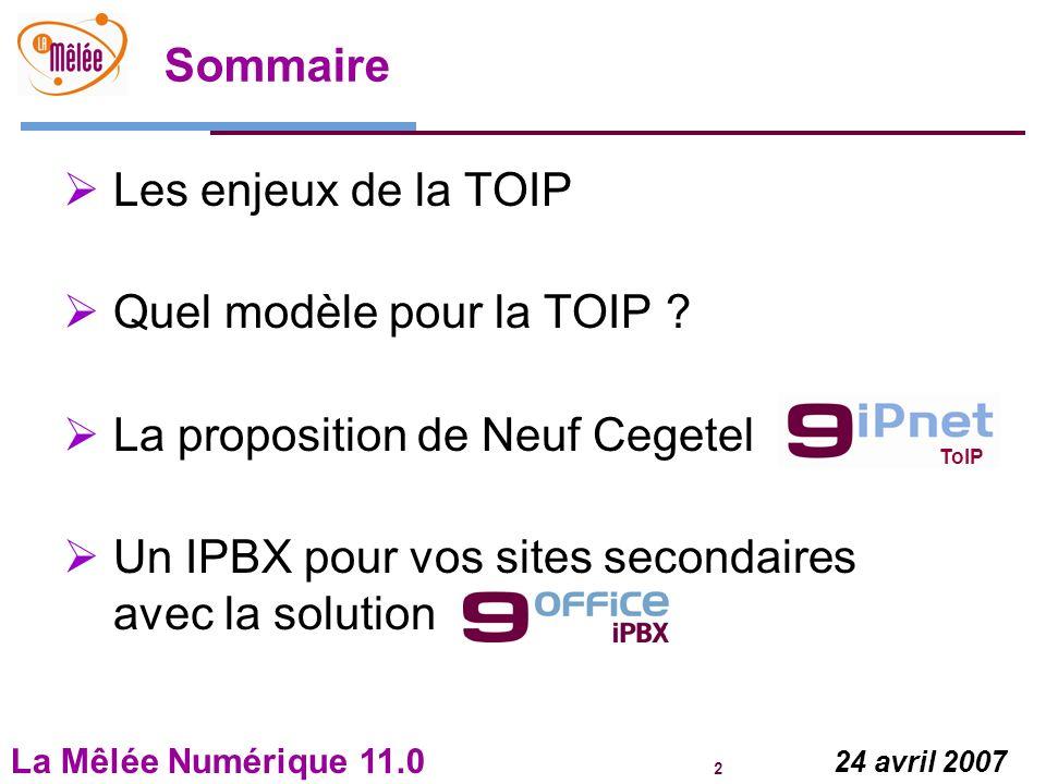 La Mêlée Numérique 11.0 2 24 avril 2007 Sommaire Les enjeux de la TOIP Quel modèle pour la TOIP ? La proposition de Neuf Cegetel Un IPBX pour vos site