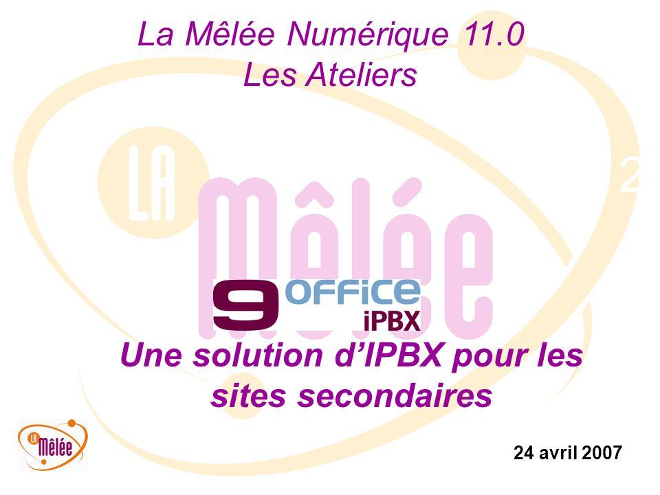 La Mêlée Numérique 11.0 Les Ateliers 24 avril 2007 2 Une solution dIPBX pour les sites secondaires