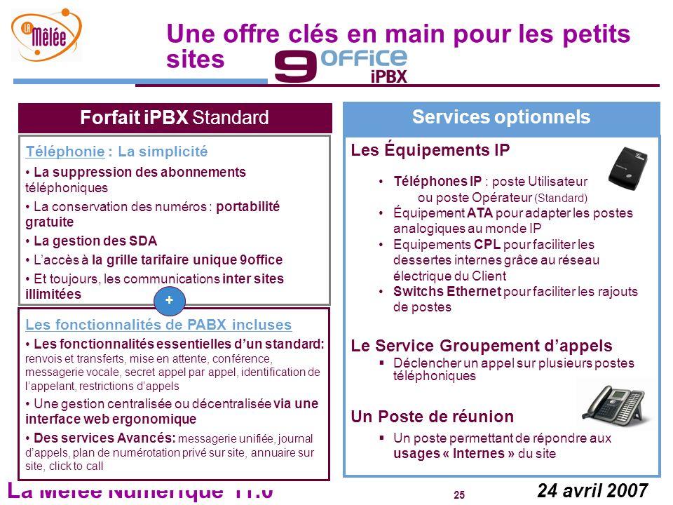 La Mêlée Numérique 11.0 25 24 avril 2007 Une offre clés en main pour les petits sites Services optionnels Les Équipements IP Téléphones IP : poste Uti
