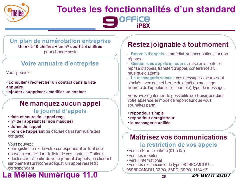 La Mêlée Numérique 11.0 26 24 avril 2007 Toutes les fonctionnalités dun standard Un plan de numérotation entreprise Un n° à 10 chiffres + un n° court