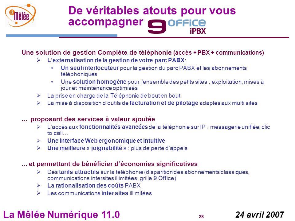 La Mêlée Numérique 11.0 28 24 avril 2007 De véritables atouts pour vous accompagner Une solution de gestion Complète de téléphonie (accès + PBX + comm